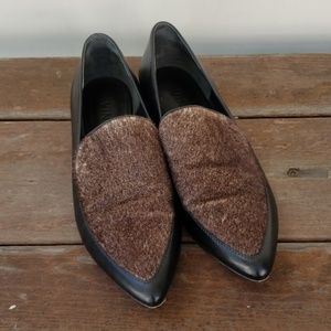 Vince Nikita Calf Hair and Leather Pointed Loafers